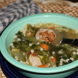 ESCAROLE & ORZO SOUP WITH TURKEY PARMESAN MEATBALLS