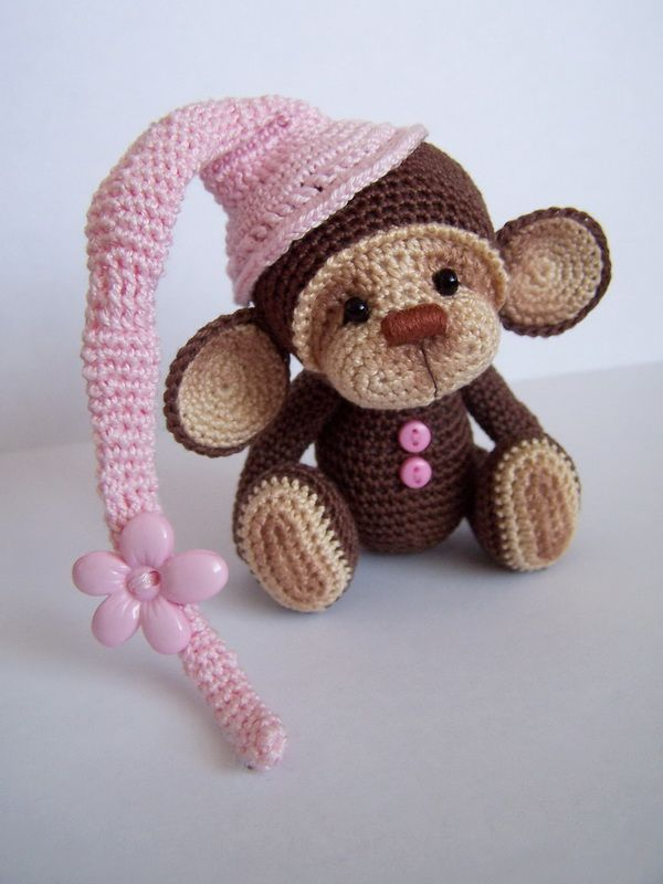 Crochet Monkey : SOLD] Crochet Thread Artist Monkey by Benesak / Teddy Bears & Pals ...