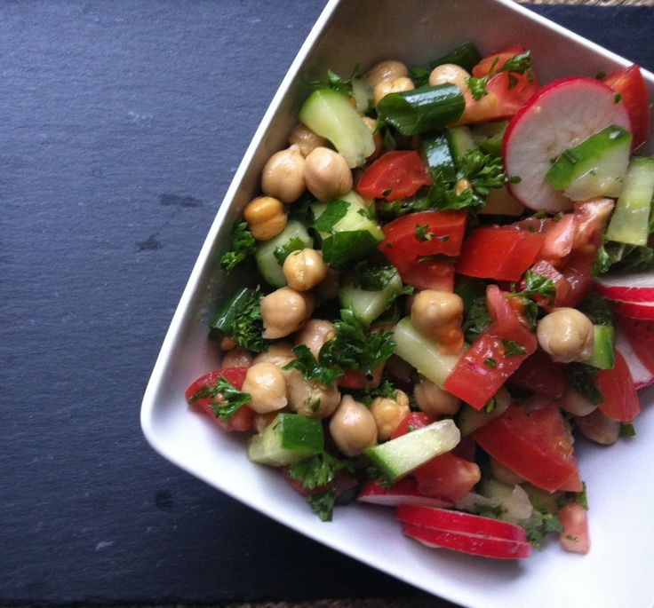 Chopped Middle Eastern Salad - A healthy salad mixing cucumber ...