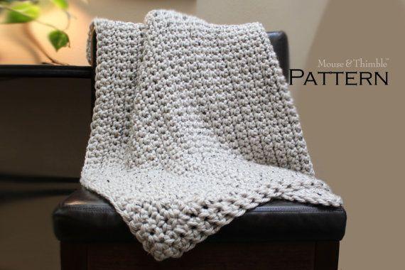 Crochet Queen Size Blanket Pattern : Crochet PATTERN Chunky Lap-Sized Aspen Tweed Afghan Throw - Printable ...