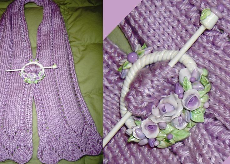 Shawl Pin, purple basket, roses