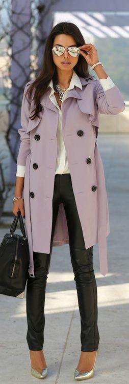 Lavender coat, black leather skinnies with sparkling silver accessories + heels