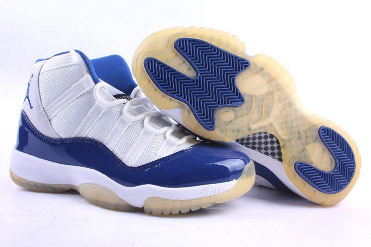 Jordan 11 white blue basketball shoes