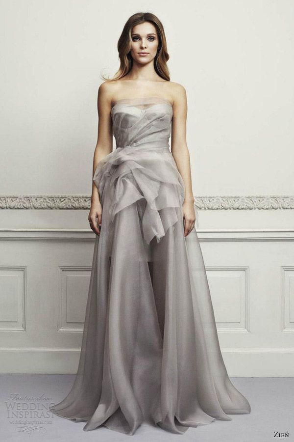 zien color wedding dresses 2013 strapless bridal gown