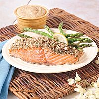 Honey Dijon pecan crusted salmon. I made it this weekend. It's quick ...