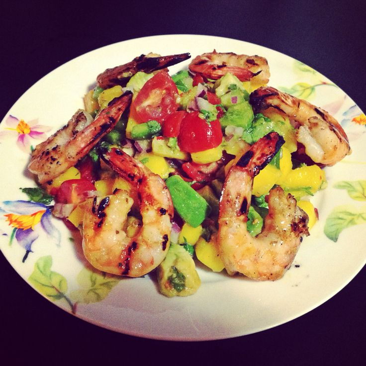 Colourful inspired... Mango and grilled shrimp salad with avocado ...