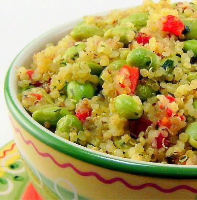 Warm Quinoa Salad with Edamame and Lemon-Tarragon Dressing Ingredients ...