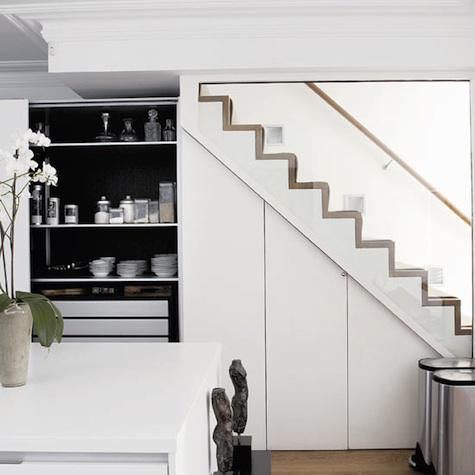 A kitchen in London via Homes and Gardens magazine.  great use of space below a staircase