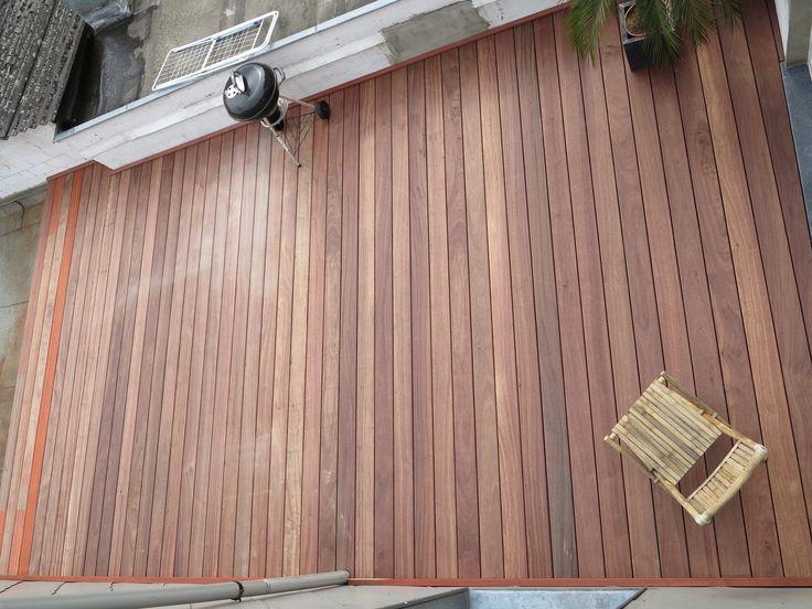 Terrasse en bois Padouk Fixations visseries invisibles HAPPAX www