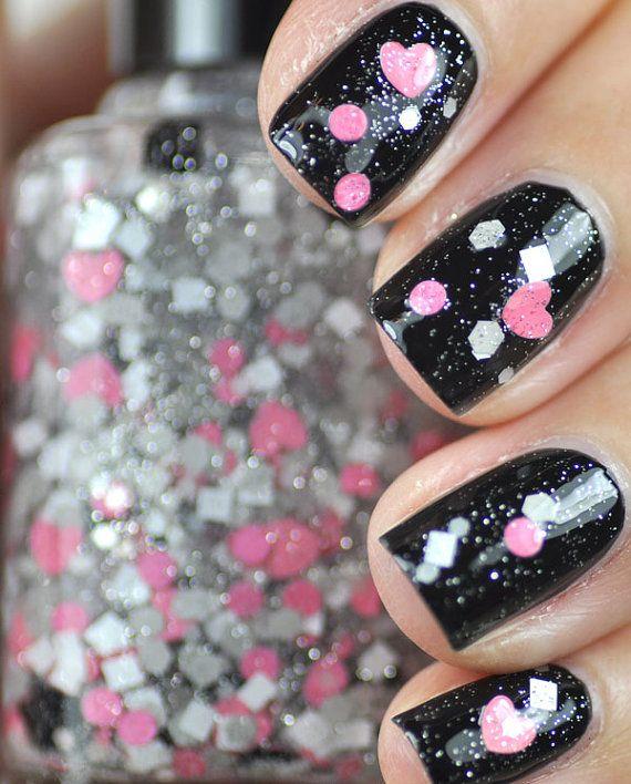 Pink Nail Polish Top Coat: Lovey Dovey Pink, Grey And Black Heart Glitter Nail Polish