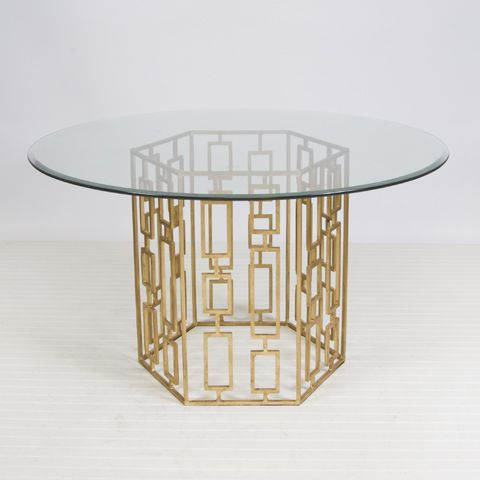 Picture Of Gold Leaf Round Dining Table Available In Two Different
