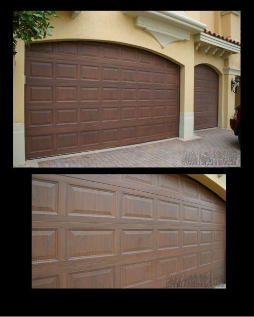 Make metal garage door look like wood for the home for Wood look garage doors