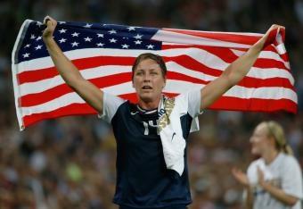 Abby Wambach after winning Olympic gold