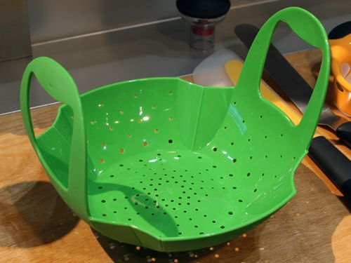 This collapsible steamer basket conforms to the size of your pot and stores easily.