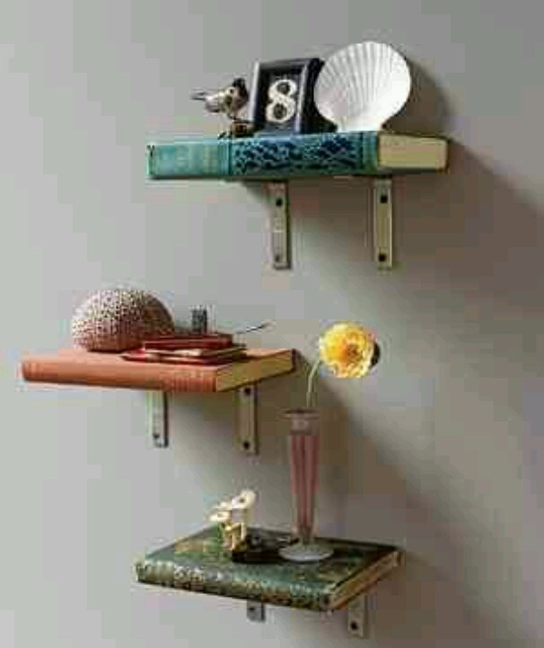 Book Shelves Made From Old Books 606 x 721