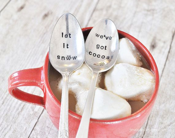 Let it Snow, We've Got Cocoa Mini Latte Set: 2 Mugs & 2 Hand Stamped ...