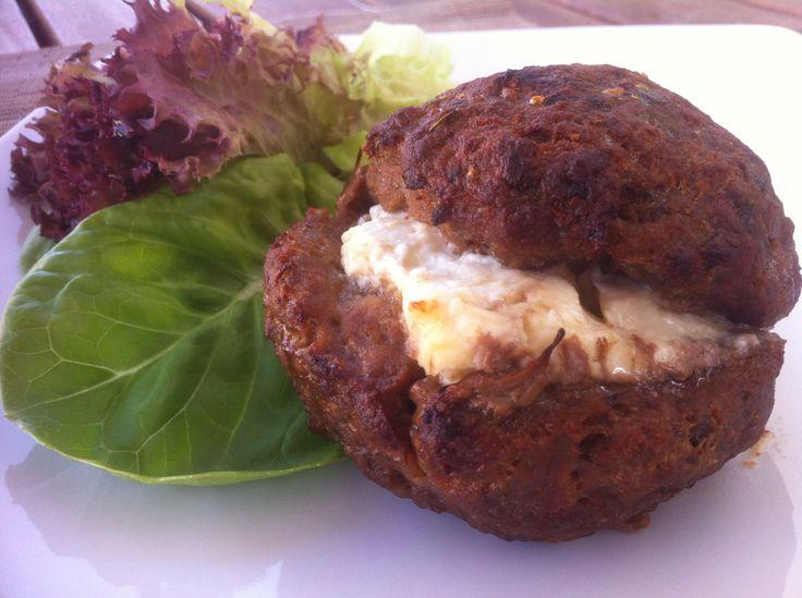 Greek Style -Juicy Stuffed Burgers with Feta Cheese