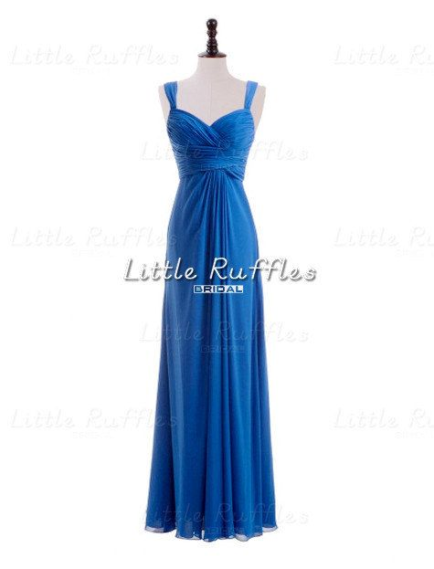 Cobalt Blue Chiffon Dress,Long Dark Blue Prom Dress,Cobalt ...