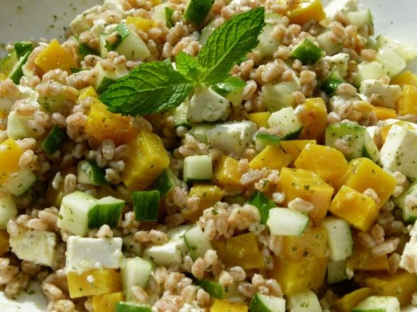 Farro with Cucumbers, Golden Beets, Feta and Mint Vinaigrette ...