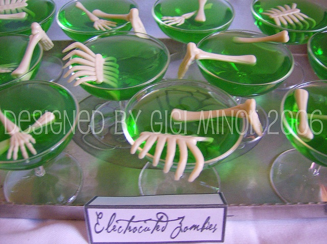 Electrocuted Zombie Jello Shots- lime jello, red bull and vodka