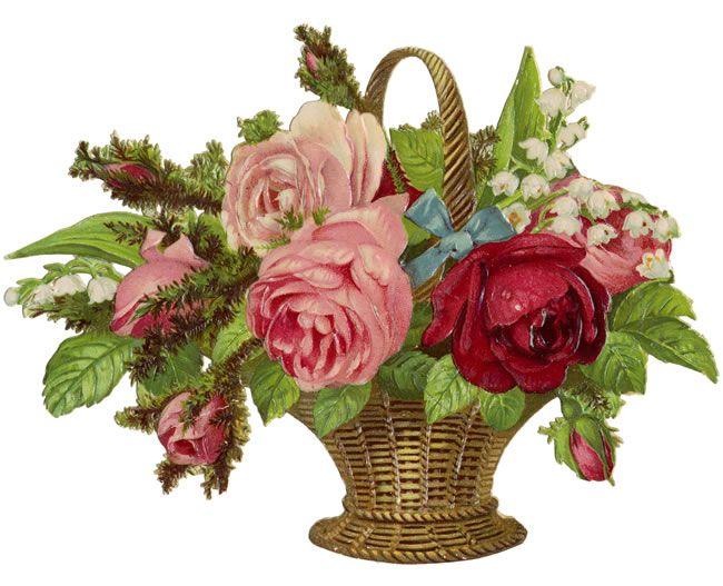 Flower basket images free : Victorian flower basket clip art