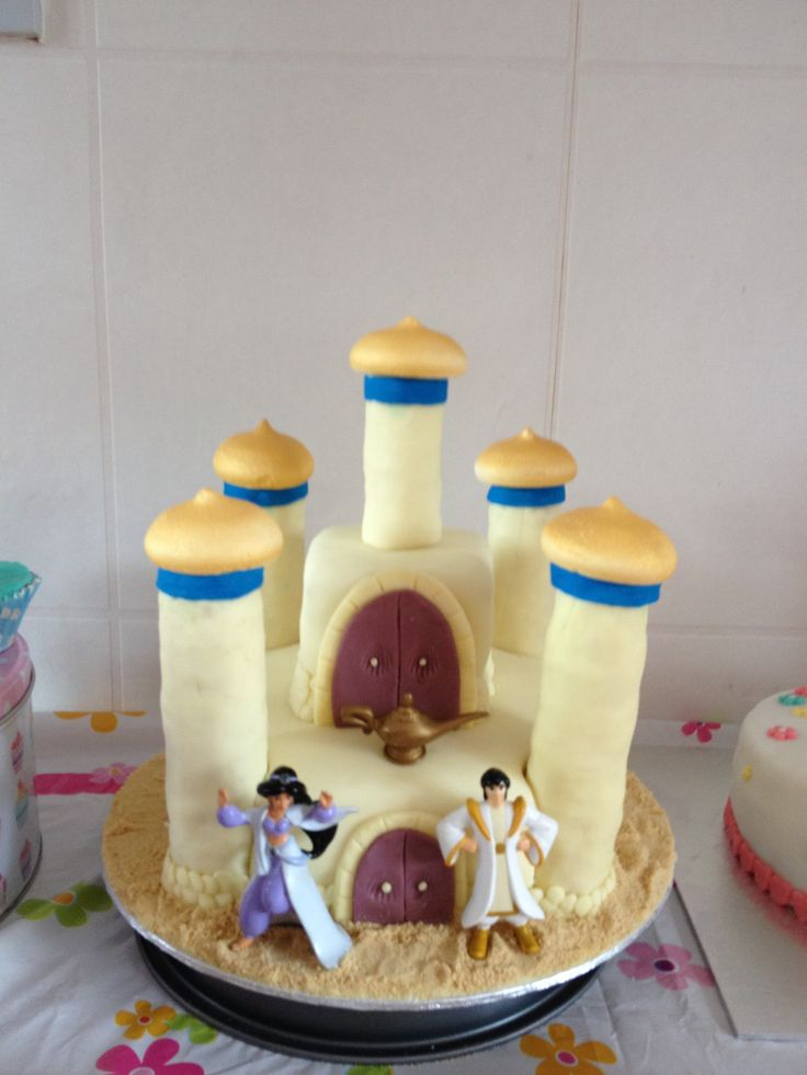 Aladdin and jasmine castle cake.