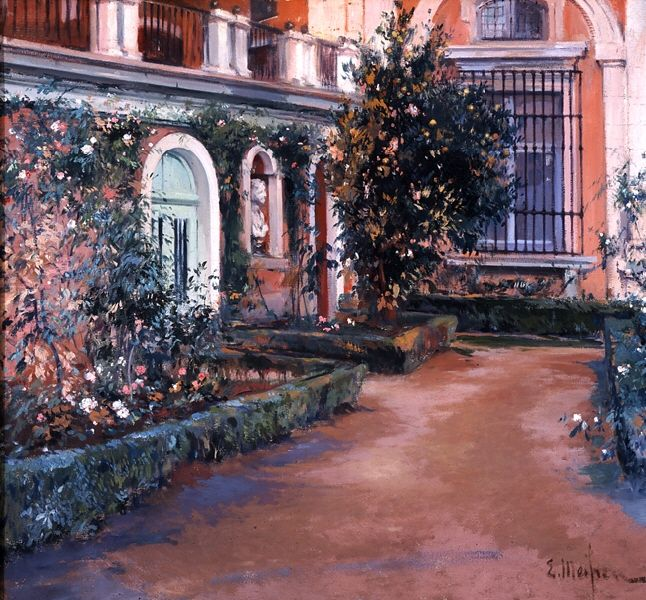 Eliseo Meifrén Roig. El único naranjo. Jardines de Aranjuez. Óleo sobre lienzo. Firmado. 84 x 90 cm. Museo de Bellas Artes de Málaga.
