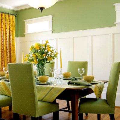 craftsman dining room - actually like the crisp white and this green  pretty combination