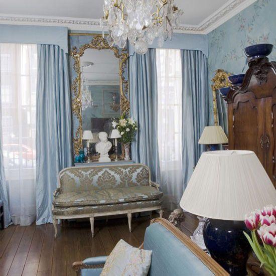 Cornflower blue brushed gold and dark timber mid century paris