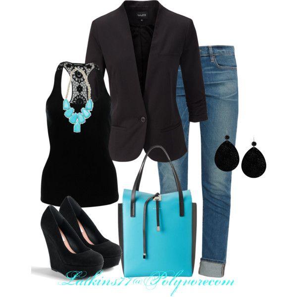 black blazer, blouse, black pumps, handbag, totes and blue jeans