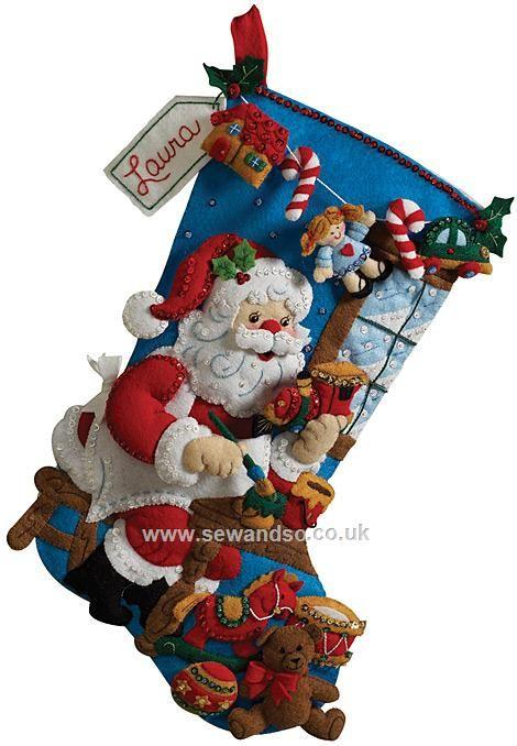 Buy In The Workshop Stocking Felt Applique Kit Online at www.sewandso.co.uk