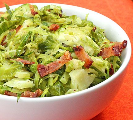 shredded brussel sprouts with bacon (Safe info omit the cider vinegar ...