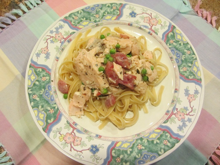 Salmon Fettucine 1 - 1 1/2 lb. baked salmon 1 lb. fettucine, cooked ...