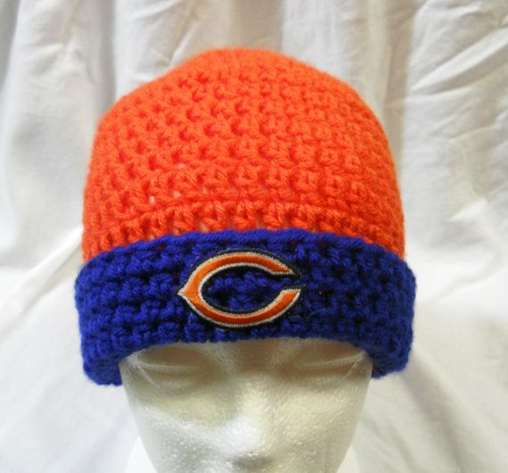 Chicago Bears Crochet Orange & Blue Hat with Embriodered ...