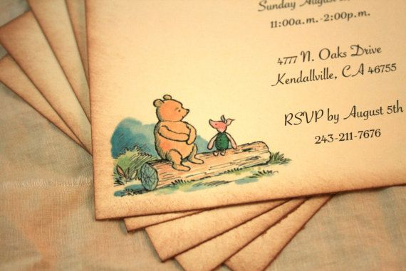 Vintage Winnie the Pooh Baby Shower Invitation 570 x 381