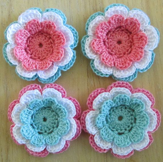 reserved for sandy   crochet flower appliques three layer flowers