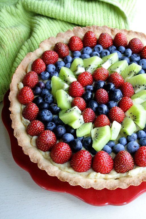 Vanilla and Almond Fresh Fruit Tart. Surprisingly easy, despite the ...