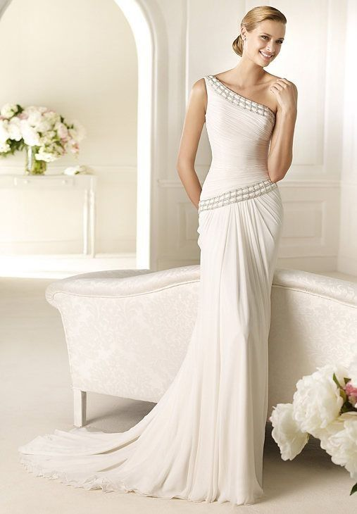 Bridal Gowns Elegant : Chiffon one shoulder column elegant wedding dress fit
