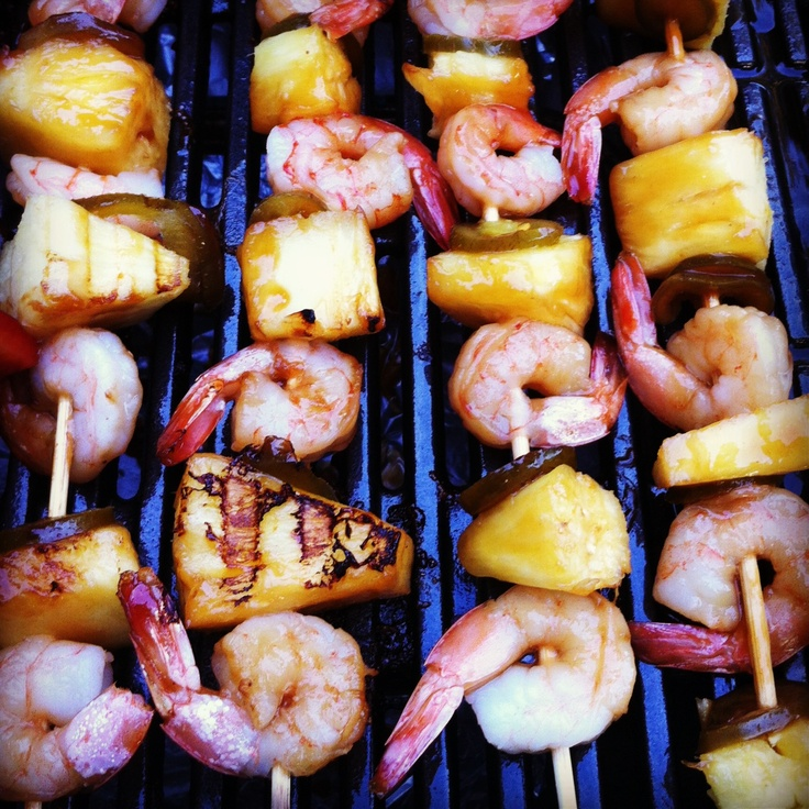Grilled teriyaki shrimp, pineapple, and sliced jalapeño kebobs.