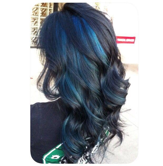 Black hair dark blue tips