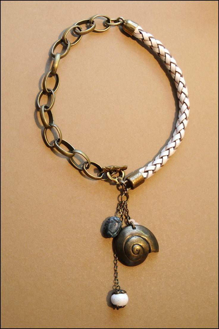 Collar cuero trenzado y cadena