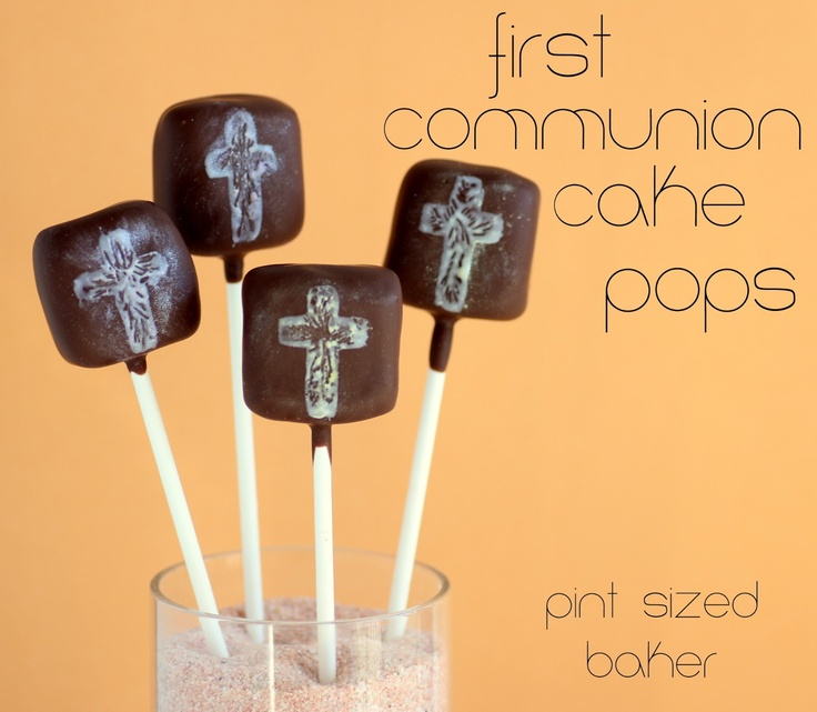 Religious Cake Pops to celebrate a First Communion or Baptism from www.pintsizedbaker.com
