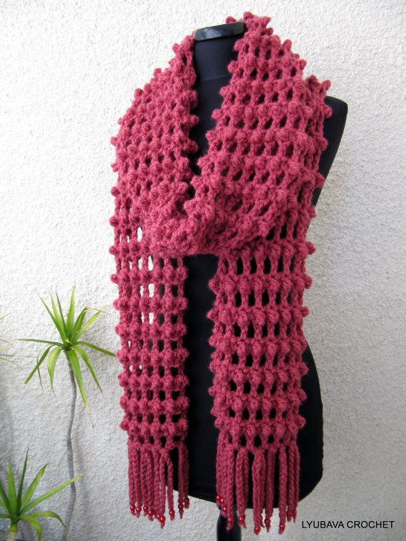 Knitting Patterns For Trendy Scarves : Crochet Long Scarf With Fringe, Trendy Crochet Fashion 2013 Neck Warm?