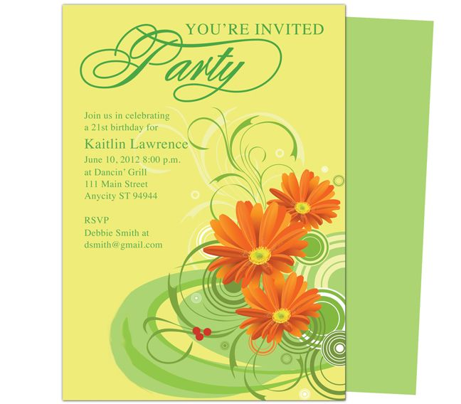 Gerbena Birthday Party Invitation Templates. Use with Word, OpenOffice ...