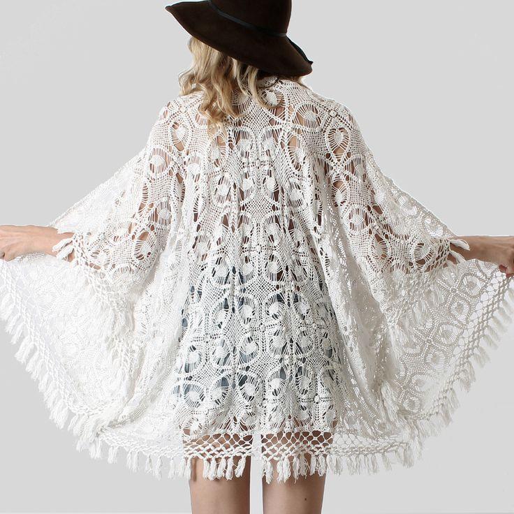 Crochet Kimono : vtg 70s sheer CROCHET LACE draped festival KIMONO hippie boho fringe ...