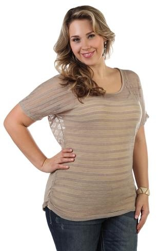plus size short sleeve striped tunic top