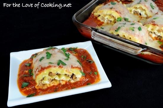 Turkey Italian Sausage and Ricotta lasagna roll - ups