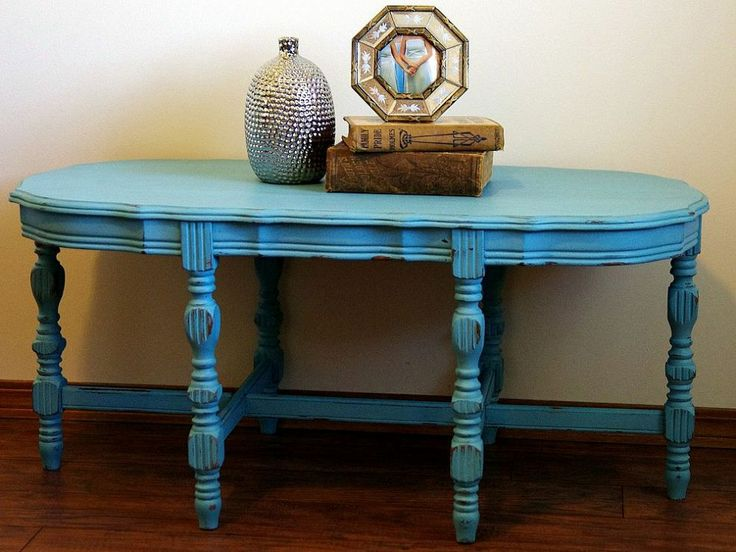 Turquoise Distressed Chalkpainted Coffee Table