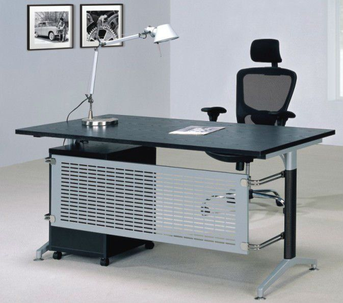 Office Table Black And Steel Open Pinterest