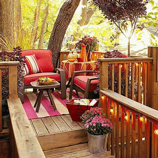 Fall balcony outdoor spaces and places pinterest for Fall balcony decorating ideas